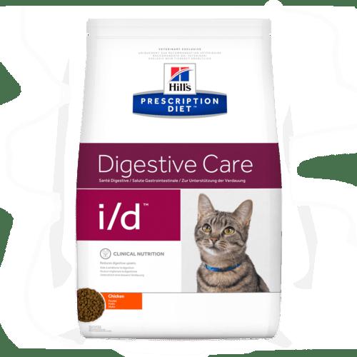PD Feline i/d – при остри чревни разстройства, свързани с недоброто усвояване на хранителните вещества, повръщане,  за подобряване на възстановяването след боледуване, при екзокринна панкреатична недостатъчност при котки