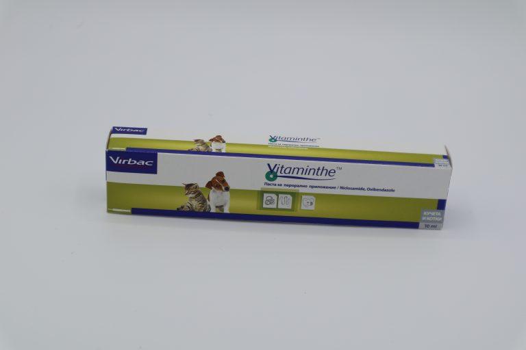 Витамент (Virbac Vitaminthe) - паста за вътрешно обезпаразитяване при кучета и котки - 10 мл.